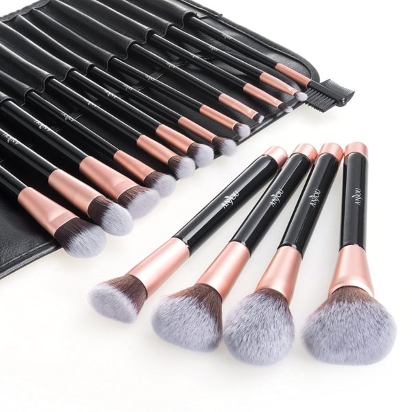 Anjou Make Up Pinsel Set 16 Professionelles Mattrosegoldenes Schminkpinsel